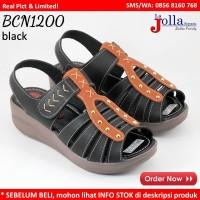 Jual BCN1200 MULAN Black Sepatu Sandal Wanita Wedges Sendal Replika Kickers Murah