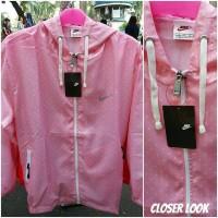 Jual jaket running NIKE waterproof pink polkadot Murah