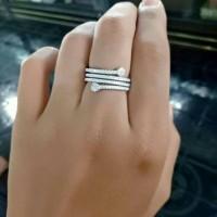 cincin perak asli perak 925 lapis emas putih