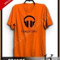 BAJU KAOS GOOGLE PALY MUSIC WARNA ORANGE B