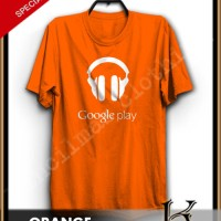BAJU KAOS GOOGLE PLAY MUSIC WARNA ORANGE