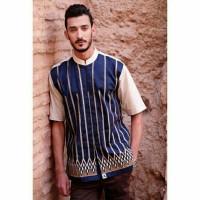 Haydan Dark Blue Baju Busana Muslim Kemeja Koko Fashion Pria Cowok