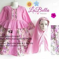 dress gamis anak 6-9th labella pink 12