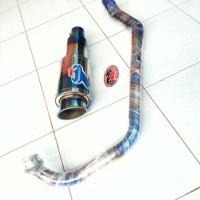 KNALPOT RACING SATRIA FU DLL FULLSYSTEM HEADER STAINLES BIRU PELANGI