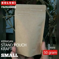 Jual STAND UP POUCH PAPERKRAFT MINI 50 GR/KEMASAN KOPI SNACK/PLASTIK KLIP Murah