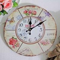 Jam Dinding Kayu Decoupage Vintage Shabby Chic / Wood Wall Clock B9