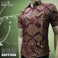 BATIK PRIA Maroon Gold   A-002 Maroon   Batik Murah Elegan