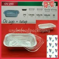 Cup wadah aluminium foil kotak persegi Ov 290+tutup
