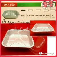 Cup wadah aluminium foil kotak persegi besar Ox 1550+tutup