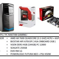 PC KOMPUTER RAKIT GAMING AMD A8-7600 (3.1 GHZ)/RAM 4GB /HDD 250GB
