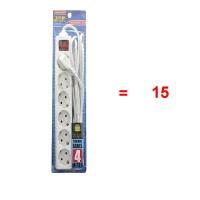 SALE.. Paket 15Pcs Kenmaster F1-6-4 Meter Sambungan Kabel 6 Stopkontak
