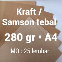 kertas samson | 280 gr | A4 | kraft | karton | brown | paper