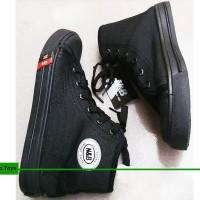 Jual Sepatu Sekolah Anak/Pria/Wanita NB Tali Boot Full Hitam Converse high Murah