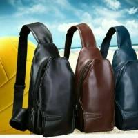 Tas selempang slempang dada pria cowok kulit sling shoulder waist bag