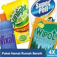 Paket Hemat Rumah Bersih: Sunlight Lemon, Wipol, Superpell, Vixal