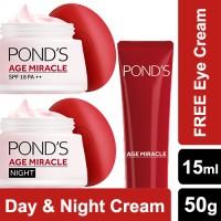 Ponds Age Miracle Day Cream 50gr & Night Cream 50gr FREE Eye Cream
