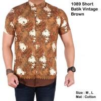 Jual baju batik pria lengan pendek slimfit vintage brown / kemeja b  Murah
