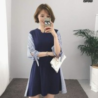 Jual promo [Dress Oshin SW] pakaian wanita dress wolly crepe kombi katun Murah