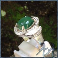 Cincin Wanita Batu Chrome Chalcedony Australia Ring Titanium