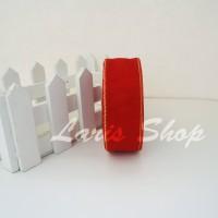Jual Pita Organdi Lis Emas 1 inch (2,5 cm) Merah Murah