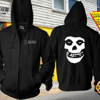 Jaket Sweater Zipper Hoodie Jumper Gambar Desain Band MISFITS 1 Keren