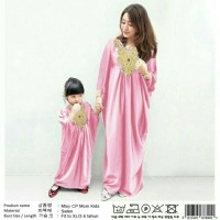 Baju Couple Dress Ibu Anak Kaftan Saten Mis