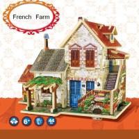 Jigsaw Puzzle 3D DIY Edukasi Robotime - French Farm House F124