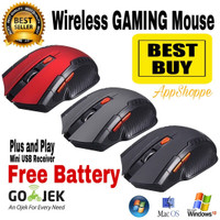 Jual WIRELESS GAMING MOUSE 6D 2.4GHz mirip FANTECH - BLACK, RED, GREY Murah