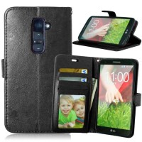 LG G2 Wallet Flip Cover Casing Card Case Leather Premium Vintage Retro