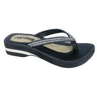 Harga obral murah sandal wanita sandal pesta wedges murah hitam doz | antitipu.com