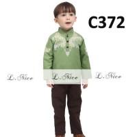 SALE STELAN BAJU MUSLIM ANAK C372 Lnice Koko Embroidery Green 1-4TH