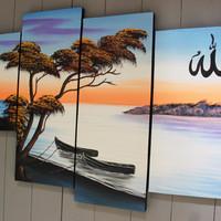 Lukisan Kaligrafi Pemandangan Tepi Pantai ( AU-7 ) spesial ramadan