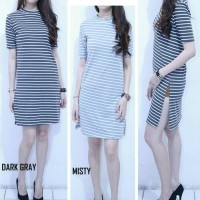 Double Slit Stripe dress salur simple casual bagus murah