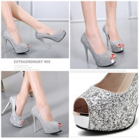 Jual sepatu highheels pesta 24002 pump Shoes glitter Import Murah Fashion Murah