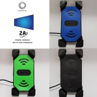 Holder Handphone / HP Motor Charger USB 2 in 1 Stang dan Spion Vinyx
