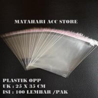 PLASTIK OPP KEMASAN BAJU BENING PLASTIK SEAL LEM UKURAN 25 X 35 CM