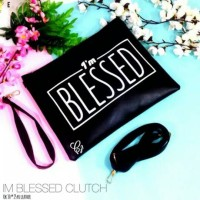 tas selempang slingbag tumblr fashion simple blessed text hitam