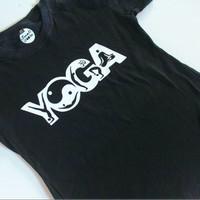 kaos cewek desain senam yoga body fit katun combed 30s sablon polyflex
