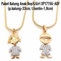 Jual Paket Kalung Anak Boy&Girl Perhiasan Lapis Emas Gold XP1715G-ADF Murah