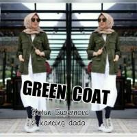 Jual Murah Terbaru Atasan Blouse Tunik Wanita Baju Muslim Green Coat Murah