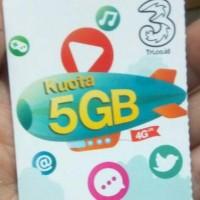 Jual voucher kuota data three 3 tri 5gb 4g 30hari super murah harga 1gb 2gb Murah