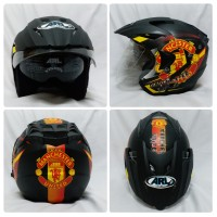 Jual Helm Club Bola Manchester United MU Hitam Doff Double Visor SNI GGMU Murah