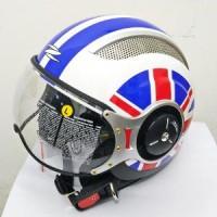 Helm Retro Import Zeus ZS-218 White/SS8 Blue   Helm Retro