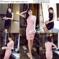 Jual 30208 - Black,Pink Halter Pearl - Dress - le250517 import Murah