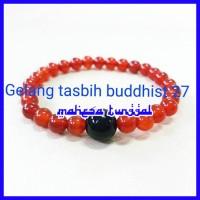 Gelang Tasbih Buddhist 27 Crystal Red Agate Kepala Black Onyx