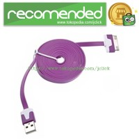 Taff Flat Noodle Charging SYNC Data Cable for iPhone 4/4s 1m - Purple