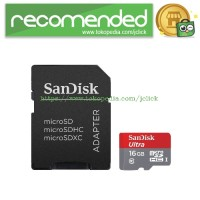 SanDisk Ultra microSDHC Card UHS-I Class 10 (80MB/s) 16GB with SD Card