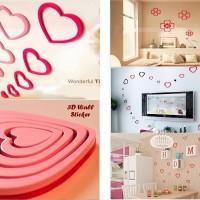 Stiker dinding kamar tidur 3 D wall sticker motif love bagus murah