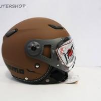 Helm Bogo Retro JPN Momo Klasik Kaca Pilot Riben Brown Glossy