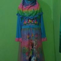 Gamis Karakter Frozen Biru Plus Jilbab Kerudung Size S Murah Baju